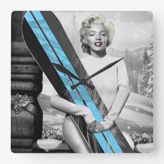 Marilyn's Snowboard Square Wall Clock