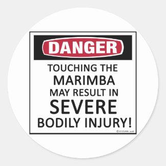 Marimba del peligro etiqueta redonda