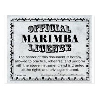 Marimba License Postcard