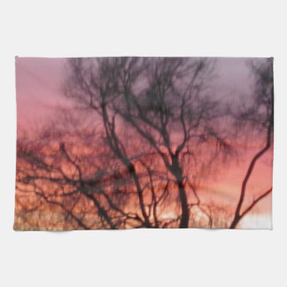 Marin Midwinter Sunset - Hot Colors Cold Landscape Kitchen Towel
