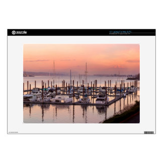 Marina along Columbia River at Sunset in Oregon Decal For Laptop