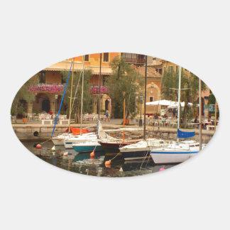 Marina at Menaggio, Lake Como Oval Sticker