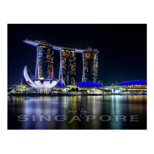 Marina Bay Singapore at night Postcard