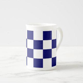 Marina de guerra a cuadros y blanco taza de porcelana