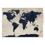 Marina de guerra apenada mapa del mundo tarjeta de felicitación