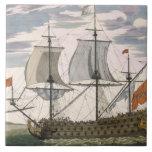 Marina de guerra británica: una nave de primer ord azulejo cuadrado grande