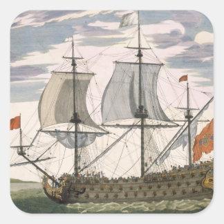 Marina de guerra británica: una nave de primer pegatina cuadrada