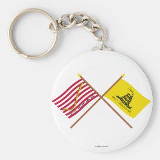 Marina de guerra cruzada Jack y bandera de Gadsden Llaveros
