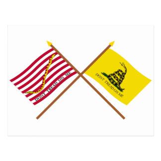 Marina de guerra cruzada Jack y bandera de Gadsden Tarjeta Postal