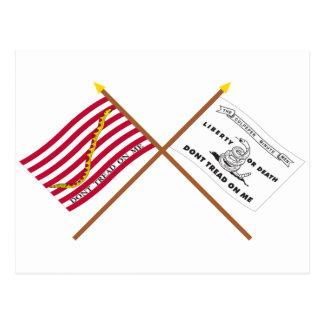 Marina de guerra cruzada Jack y bandera de Postales