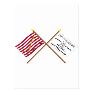 Marina de guerra cruzada Jack y bandera de Tarjetas Postales