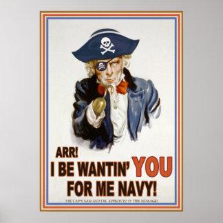 Marina de guerra de Cap'n Sam's Póster