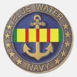 Marina de guerra del agua azul, pegatina de la