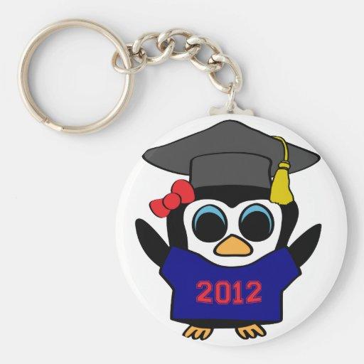 Marina de guerra del pingüino del chica y graduado llavero redondo tipo pin