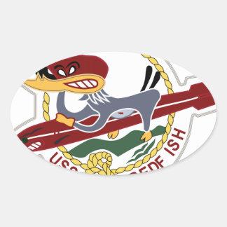 Marina de guerra del remiendo de los SALMONES de Calcomania De Óval Personalizadas