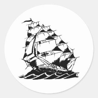 Marina de guerra del velero del tatuaje de Olds Pegatina Redonda