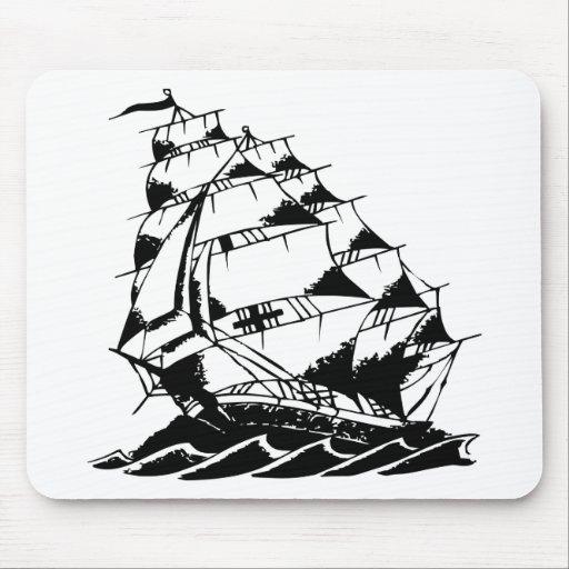 Marina de guerra del velero del tatuaje de Olds Sk Tapete De Ratón