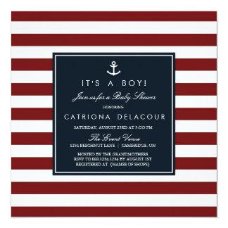 Marina de guerra e invitación náutica roja de la