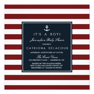 Marina de guerra e invitación náutica roja de la f