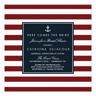 Marina de guerra e invitación nupcial náutica roja