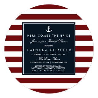Marina de guerra e invitación nupcial náutica roja invitación 13,3 cm x 13,3cm