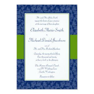 Marina de guerra e invitación verde del boda del invitación 12,7 x 17,8 cm