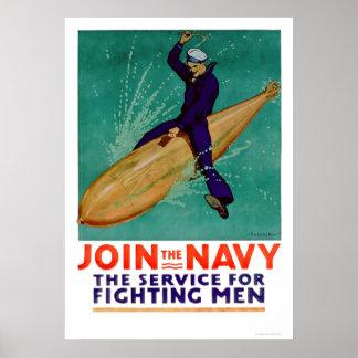 Marina de guerra, el servicio para los hombres que póster