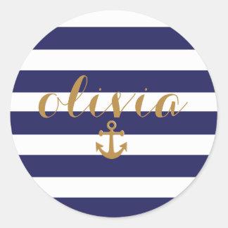 Marina de guerra elegante y ancla náutica de las pegatina redonda