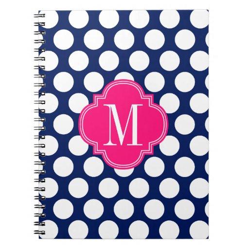 Marina de guerra femenina y puntos grandes rosados cuadernos