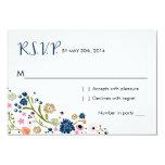 "Marina de guerra floral de la tarjeta de invitación 3.5"" x 5"""