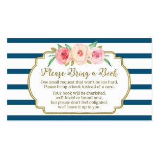 Marina de guerra floral del rosa de la tarjeta de tarjetas de visita