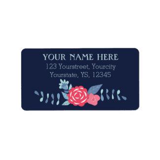 Marina de guerra floral y etiquetas rosadas del etiquetas de dirección