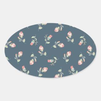 Marina de guerra minúscula de los capullos de rosa pegatina ovalada