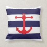 Marina de guerra náutica y almohada de tiro roja