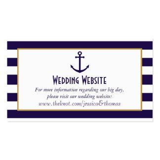 Marina de guerra náutica y boda blanco del ancla tarjetas de visita