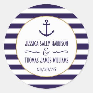 Marina de guerra náutica y favor blanco del boda pegatina redonda