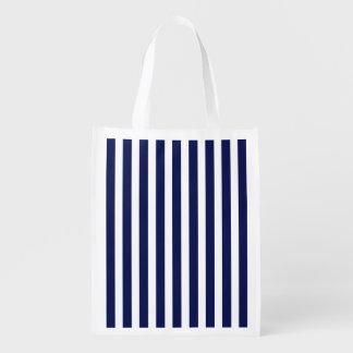 Marina de guerra náutica y rayas blancas de la bolsas de la compra