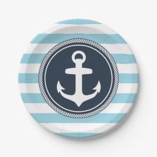 Marina de guerra rayada y azul claro náuticos platos de papel