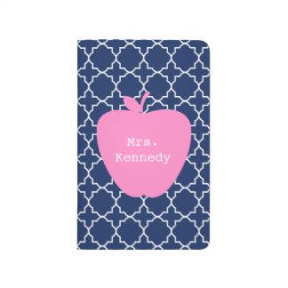 Marina de guerra rosada Quatrefoil de Apple Cuadernos
