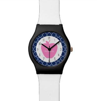 Marina de guerra rosada Quatrefoil de Apple Relojes De Mano