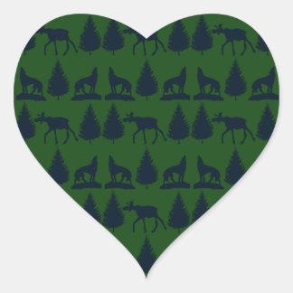 Marina de guerra verde rústica salvaje de los pegatina en forma de corazón