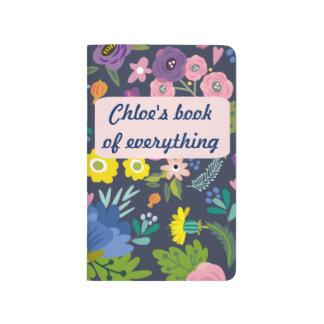 Marina de guerra y diario floral del rosa cuaderno grapado