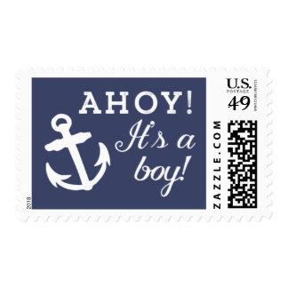 Marina de guerra y el ancla blanca Ahoy es un Estampillas