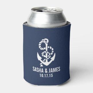 Marina de guerra y favor náutico blanco del boda enfriador de latas