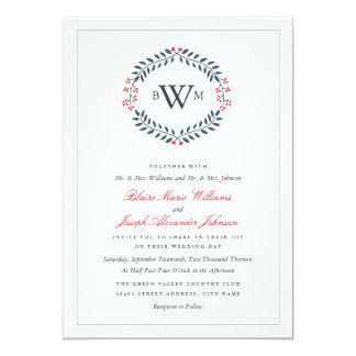 Marina de guerra y invitación floral roja del boda invitación 12,7 x 17,8 cm