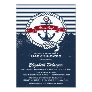 Marina de guerra y invitación náutica rústica roja
