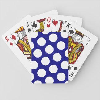 Marina de guerra y lunares blancos cartas de juego