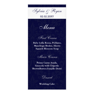 marina de guerra y menús blancos del boda de la lonas personalizadas