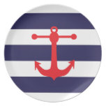 Marina de guerra y modelo náutico rojo plato de comida