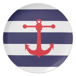 Marina de guerra y modelo náutico rojo platos